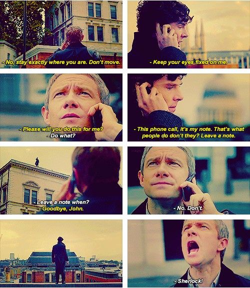 """""""The Reichenbach Fall. Sherlock. In case you were having a seemingly well day, here's something to fix that."""""""
