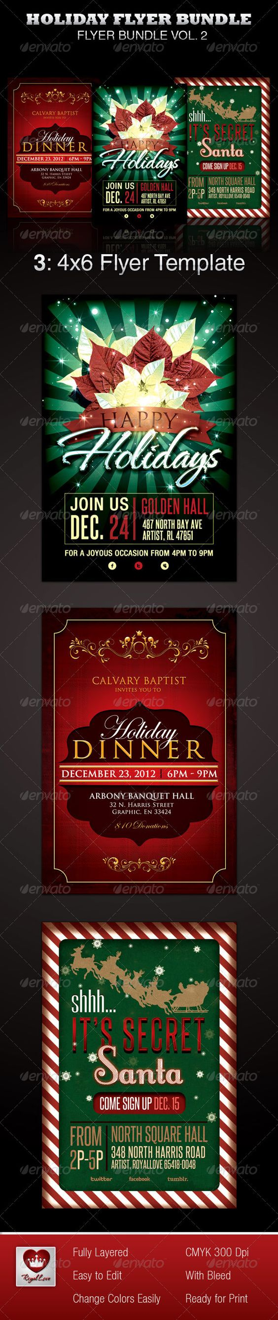 holiday flyer template bundle fonts church and photoshop holiday flyer template bundle holidays events