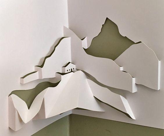 Pop Up Mountain Landscape With Chalet And Matterhorn To Download Diy Pop Up Book Pop Up Art Paper Pop
