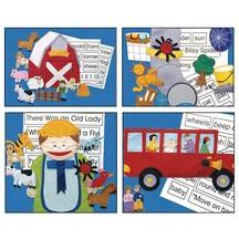 SING: Discount School Supply - Felt Story Sets - Set of All 4- Old MacDonald, Itsy Bitsy Spider, There Was An Old Lady, Wheels On The Bus