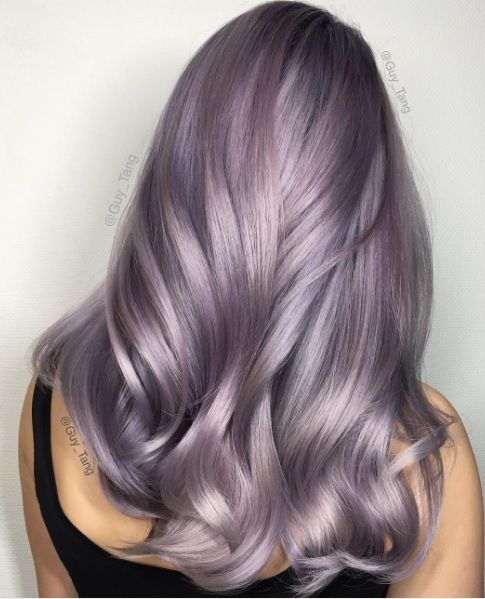 We love this gorgeous smoky lilac hair color.