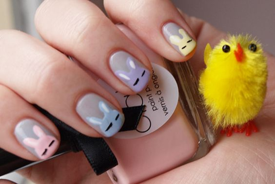 bunny easter nails tutorial
