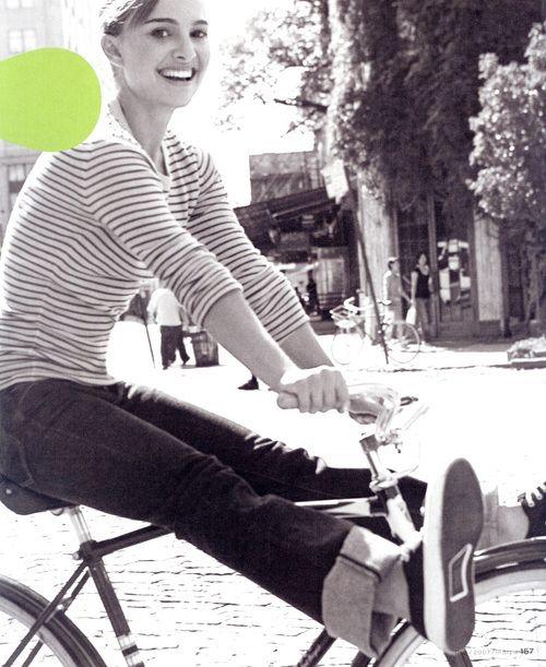Natalie Portman - love seeing celebs on bikes! It makes it socially safe. How do we involve them?