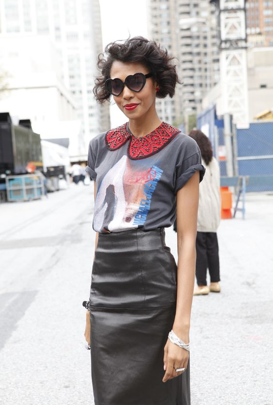 Eclectic ensemble* - gives me an idea for a DIY clothing project - Embellished collar on a graphic tee
