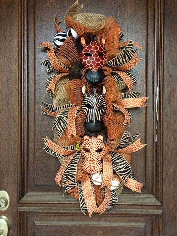 Wild Animal Mask Wreath Animal masks, Animals and Masks