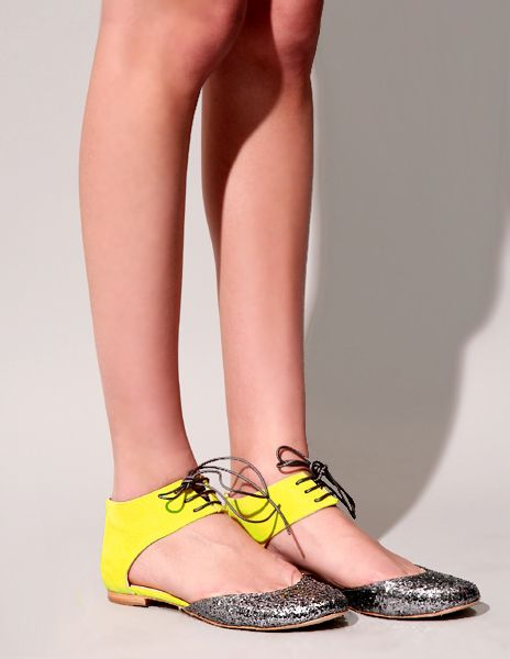 yellow and glitter flats / emma go