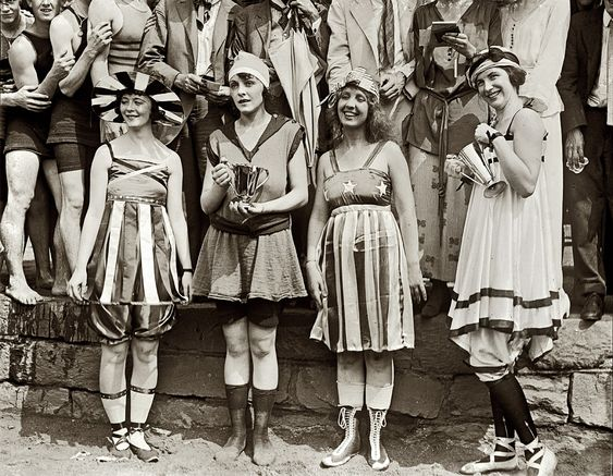 "July 26, 1919. Washington, D.C. Swimsuit ""bathing beach parade"" at the Tidal Basin."