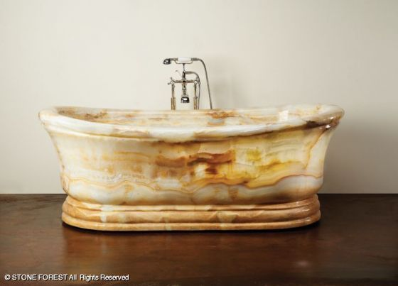 Stone Forest Old World Tub in White Onyx - gorgeous!
