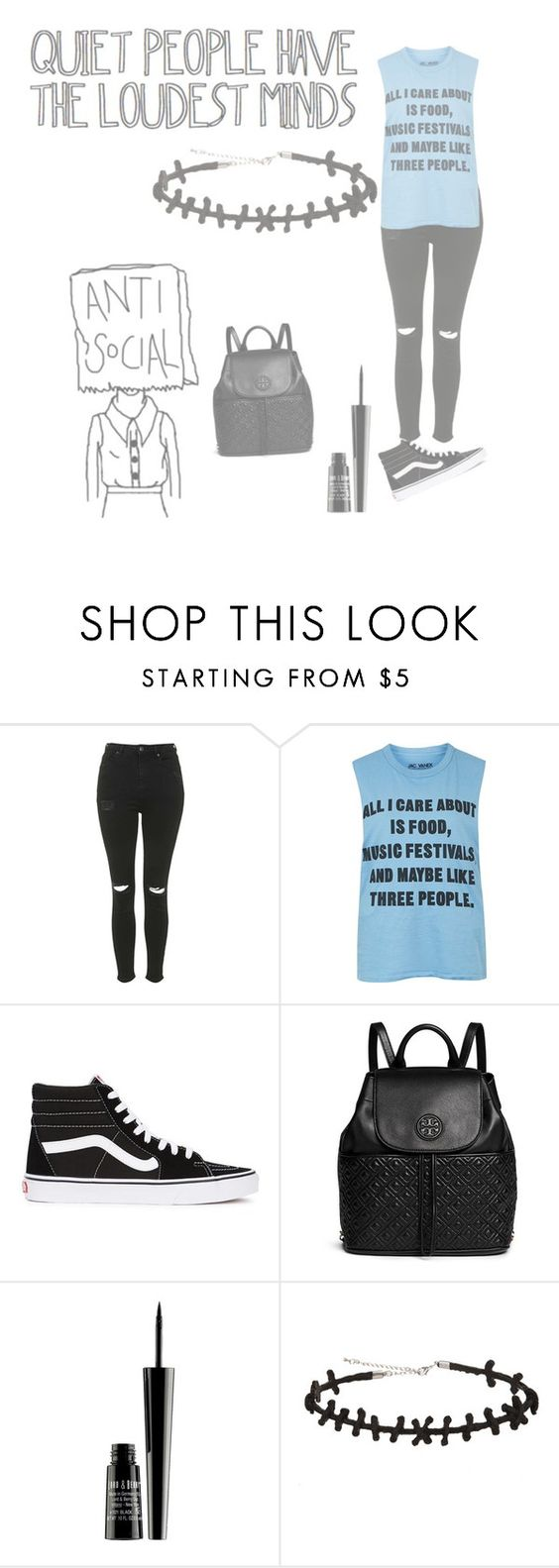 """""""Quiet People Have The Loudest Minds"""" by meganalvira ❤ liked on Polyvore featuring Topshop, Vans, Tory Burch and Lord & Berry"""