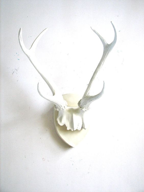 Faux Antlers Plaque Wall Hanging Rustic Modern Wall Mount