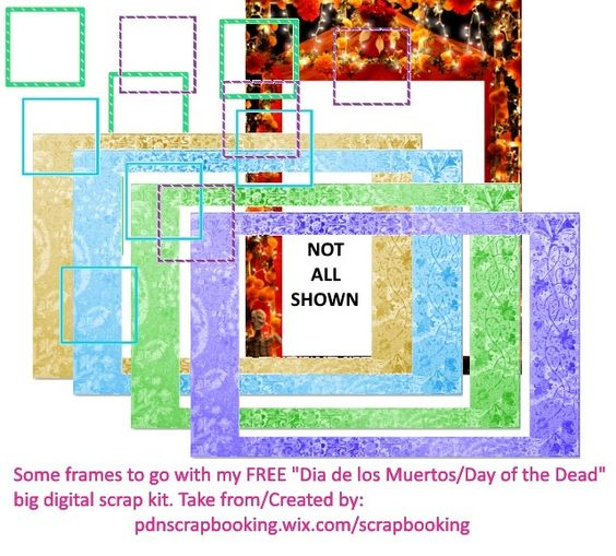 Free Gratis frames to go with my free Dia de los Muertos digital scrap kit I made for you using Paint.Net, a free software, for educational purposes to share a little bit about how cool and useful Paint.Net is.