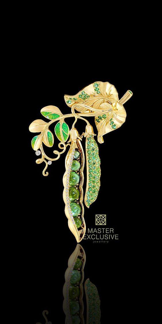 18K yellow and white gold, diamonds, green tourmaline, demantoid, tsavorite, enamel.: