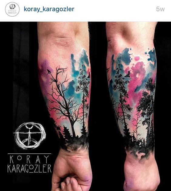 Watercolor nature tattoo half sleeve