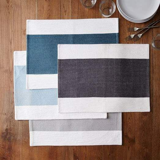 Center Stripe Woven Placemats Set Of 2 Center Homeaccessoriesdecorwestelm Placemats