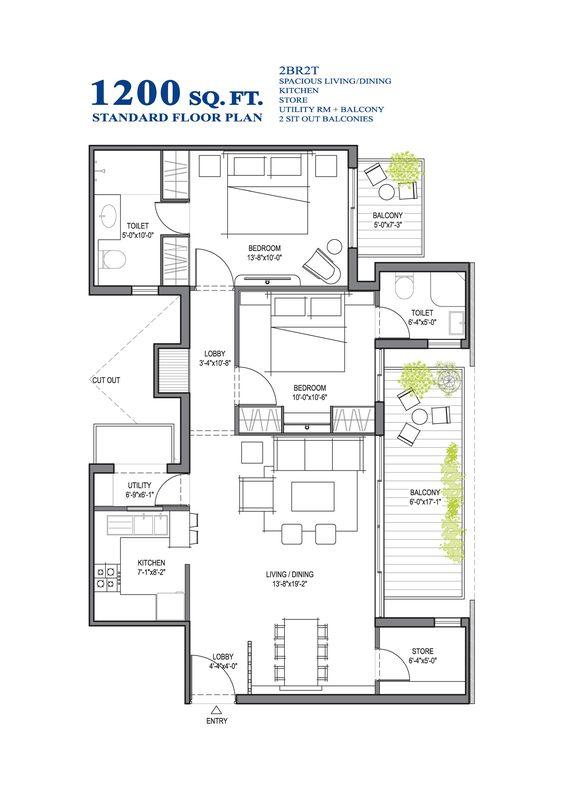 standard floor plan 2bhk 1050 sq ft customized floor plan