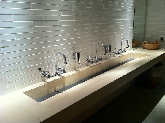 Concreteworks trough sink for commercial restroom for Public bathroom sink