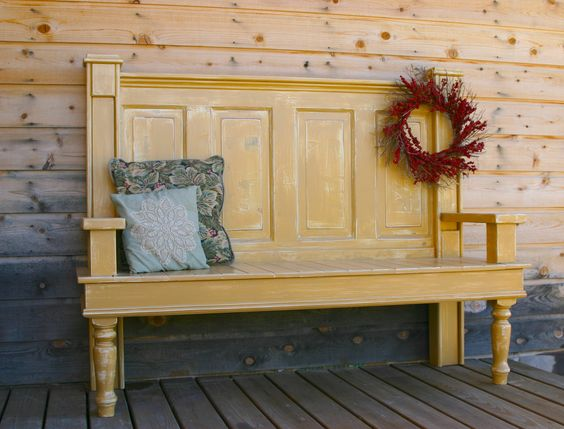 Use a old door for this project and make a bench. This is just tooooo Neat@! it was an OLD door@ It is amazing what one can creative when given the GIFT of creativity!@ Clever!@