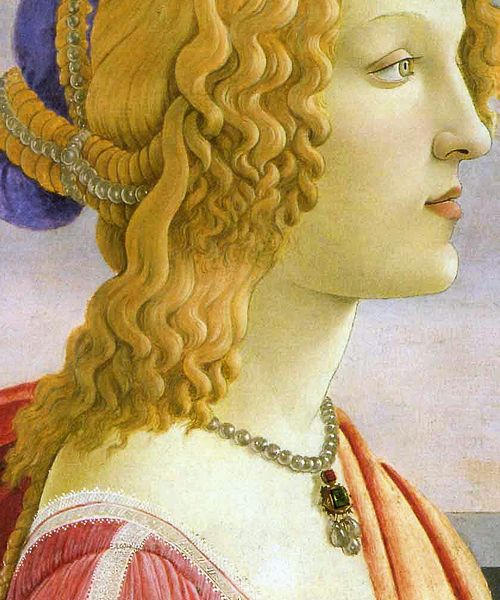 Sandro Botticelli - La bella Simonetta La bella Simonetta means Simonetta Vespucci, a beautiful young Florentine Noble-Lady, who had been painted several times by Botticelli and other painters like Piero di Cosimo. The present painting from the Marubeni-Collection in Tokyo exists in a very similiar copy from a follower of Botticelli (London, National Gallery). by petrus.agricola, via Flickr: