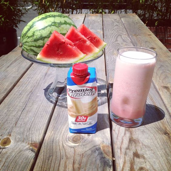 Watermelon Smoothie Recipe:  1 Premier Protein vanilla shake 1 Cup of diced watermelon 3-5 Ice cubes  Blend until smooth and enjoy!