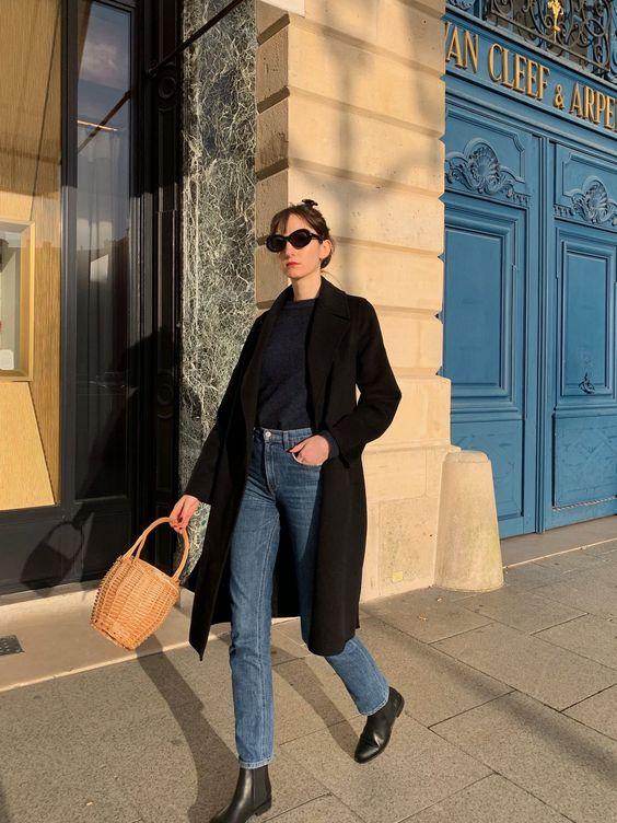 Parisian winter style - black wool wrap coat with wicker basket