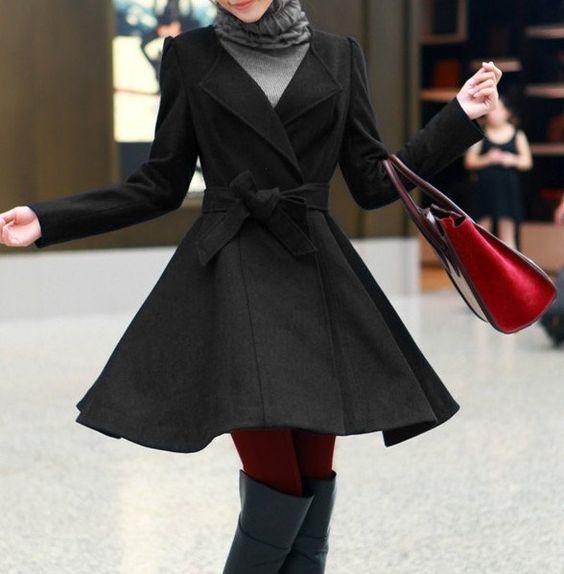 Images of Black Dress Coat Womens - Reikian
