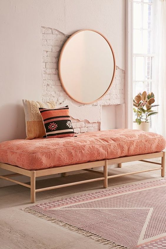 Urban Outfitters Dotty Daisy Daybed Cushion. Love this. My whole bedroom decor is sticking with the rose gold theme and this fits perfectly! Adore this. Perfect for the girls room too! Decor | Rose Gold | Home decor | Decor for home | bedroom decor | aff link