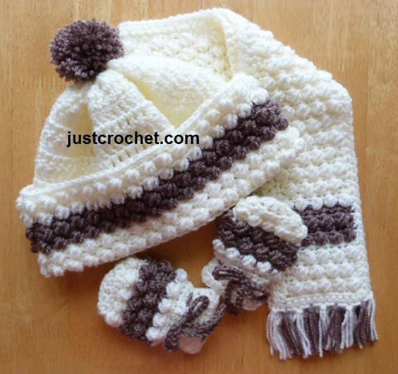 fjc105-Hat, Scarf and Mitts Baby Crochet Pattern | Craftsy