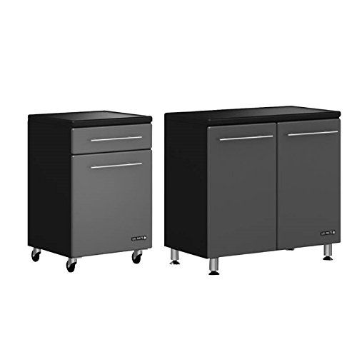 Home Square 2 Piece Garage Storage Set With Rolling Cabinet And 2 Door Base Cabinet In Graphite Grey And Black Storage Locker Storage Storage Sets