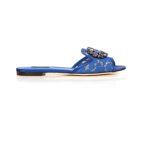 Dolce & Gabbana Bianca crystal-embellished lace slides (2,980 SAR) ❤ liked on Polyvore featuring shoes, sandals, blue, flower print shoes, blue sandals, blue lace shoes, floral sandals and blue shoes