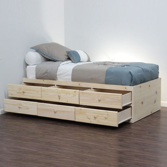 Bed without headboard captains bed and daybeds on pinterest for Bed without headboard