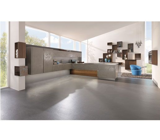 Beautiful Alno Star Cera Oxide Grigio in the kitchen Pantry Pinterest Concrete floor Concrete and Kitchen pantries