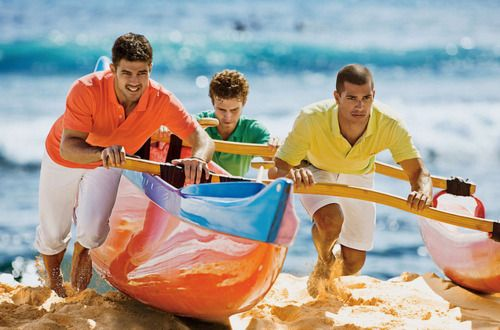 I like the colors, the kayak and the cute guys. Had no idea what board to pin it to!