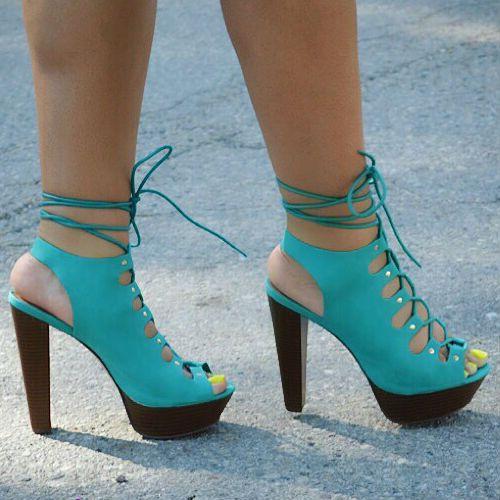 Peep Toe Cage Lace Up Chunky Heels