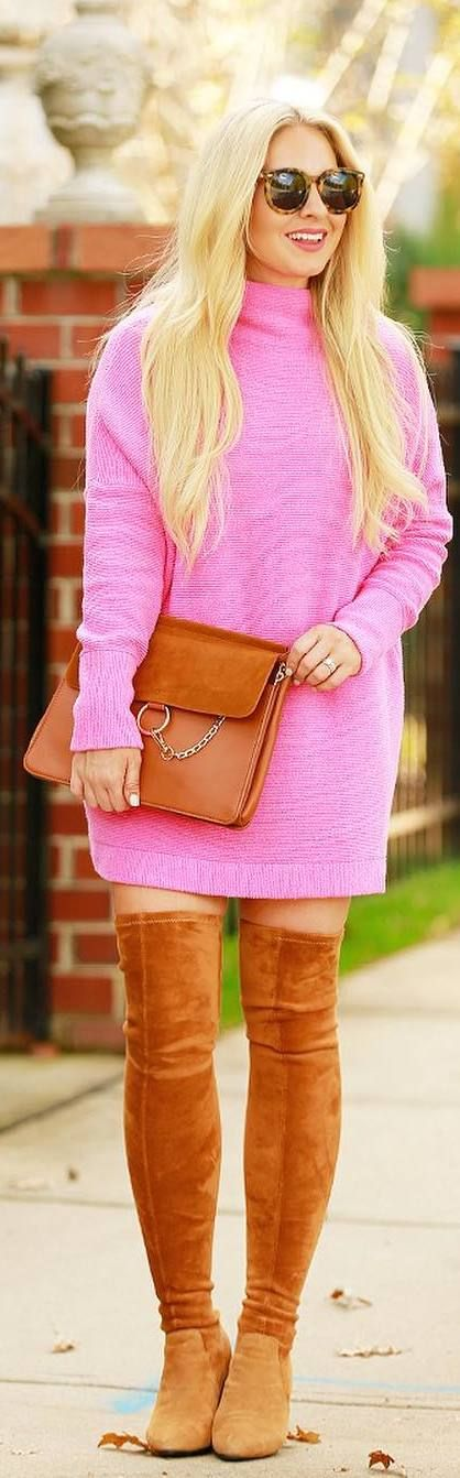 #fall #outfits pink dress brown boots handbag