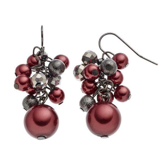 Croft & Barrow® Raspberry Beaded Cluster Drop Earrings, Women's, Red