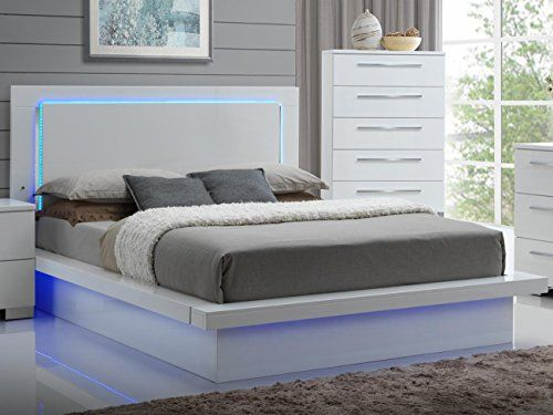 Ncf Furniture Saturn Eastern King Led Light Bed In White Lacquer