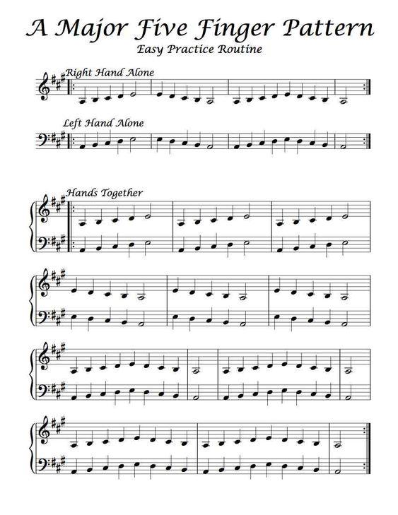 A Major u2013 Five Finger Pattern u2013 Easy Practice Routine Piano - piano teacher resume