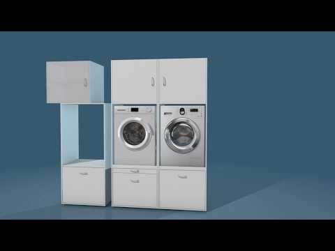 Waschturm Basismobel Waschmaschinenschrank Vibrationsabsorbierend Passgenauer Einbau Fur Waschmaschine Waschmaschine Trockner Schrank Waschkuchen Schranke