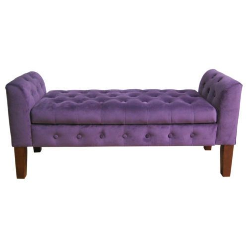 Foyer Settee Bed Bench : Plum purple tufted end of bed bedroom storage music piano