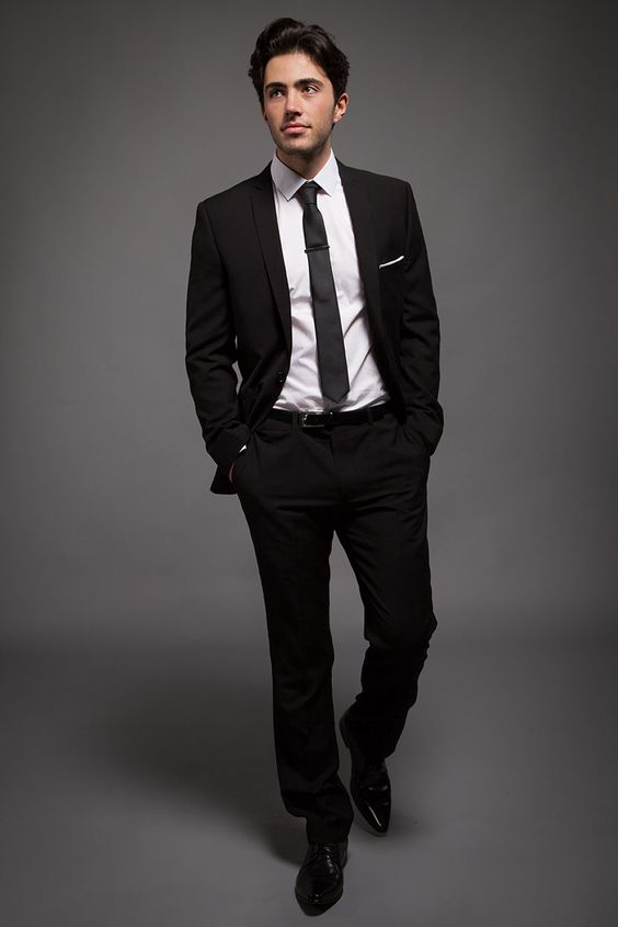 Classic Black Slim Fit Suit for the Groom with white shirt and