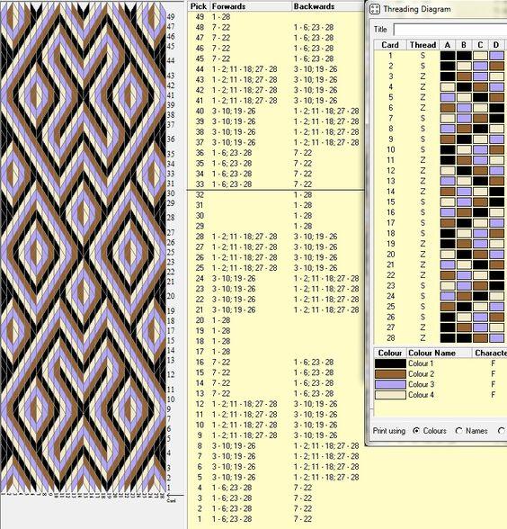28 tarjetas, 4 colores, repite cada 32 movimientos // sed_224 diseñado en GTT ༺❁
