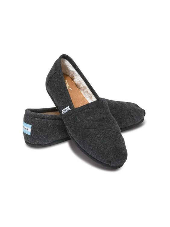 We've given cool black some warmth with a woolen blend and faux shearling lining. Shown: TOMS Woolen women's Classics.