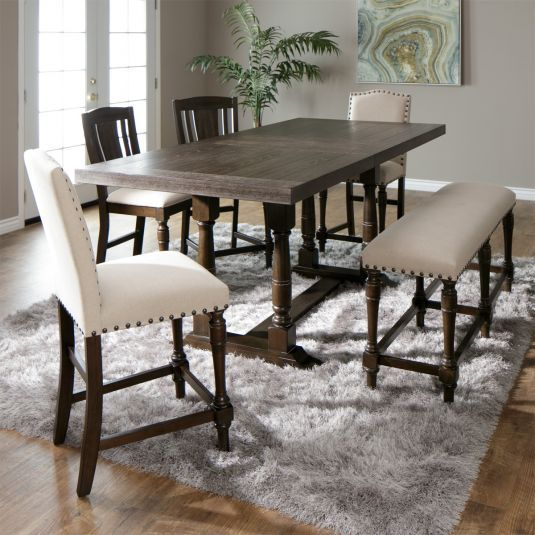 The Cassidy Counter Height Dining Set With Bench Features A Beautiful Espresso Dining Room Furniture Sets Casual Dining Room Furniture Dining Table With Bench