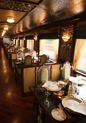 Maharajas' Express Train, India..  Yes, Yes, YES. Looks so classy! I'd feel like royalty :D:
