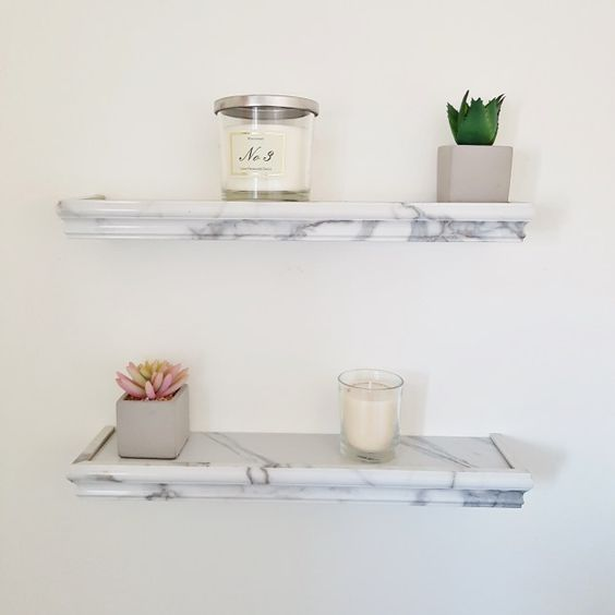 Marble Shelf - White | B&M | £3