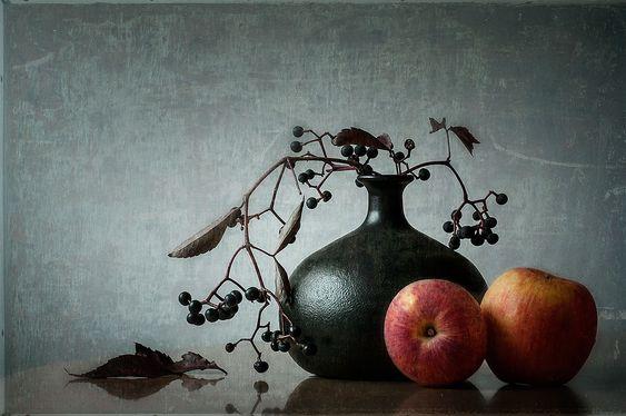 Stillleben mit Äpfeln | blumen stillleben texturen | Digitale Kunst