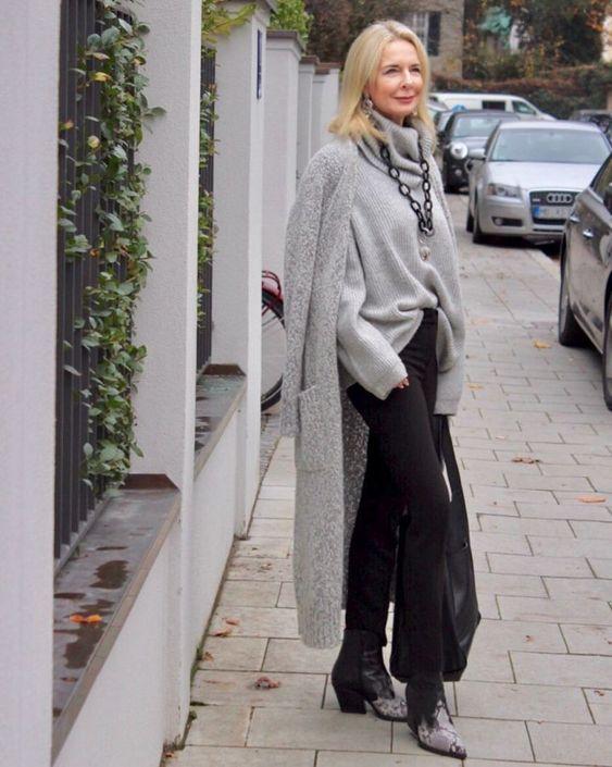 Вязаные пальто на зиму 2018 года от блогера Bibi Horst в стиле для женщин40 + / 50 +