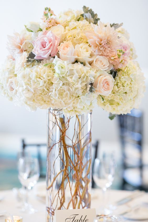Blush and white tall centerpiece dahlias hydrangea