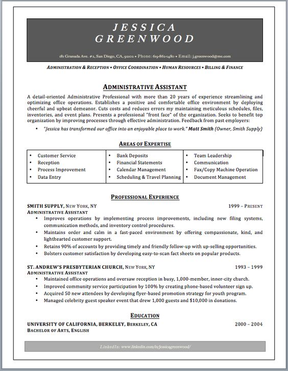 Sample Administrative Assistant Resume. Pinterestu0027Teki