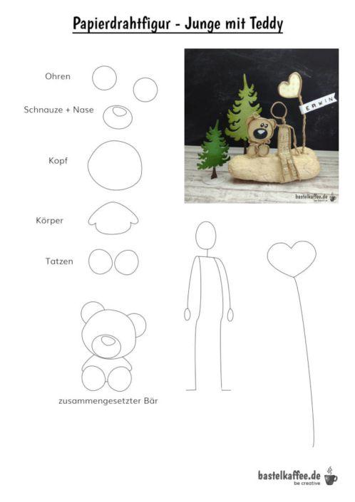 Papierdrahtfiguren Basteln Junge Mit Teddy Bastelkaffee Freebies In 2020 Basteln Platzkartenhalter Papier